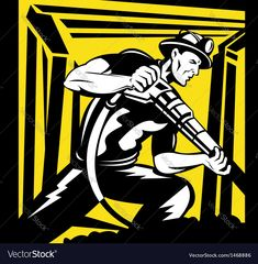 a miner with pneumatic drill at work done in retro woodcut style. Download a Free Preview or High Quality Adobe Illustrator Ai, EPS, PDF and High Resolution JPEG versions.