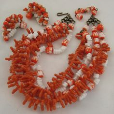 ROBERT Opaque Coral & White Multi Strand Necklace Set