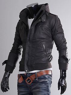 Slim-fit-Leather-jacket-Hoodie-jacket-for-men