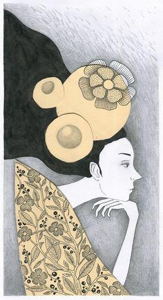 žena, vlasy, květina, krása, elegance