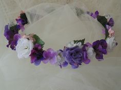 Purple Garden Flower Crown Fairy Tiara Home Decor Wreath by BunniesMadeOfBread on Etsy