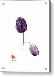Tulips Purple Flowers Blue Violet Dark Tulip Flower Watercolor Painting Acrylic Print by Johana Szmerdt