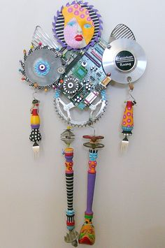 I AM A Warrior  recycled found object sculpture mixed media. $1,500.00, via Etsy.