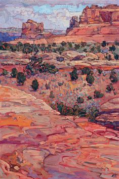 Western red rock landscape oil painting of Canyonlands National Park, by modern impressionist Erin Hanson
