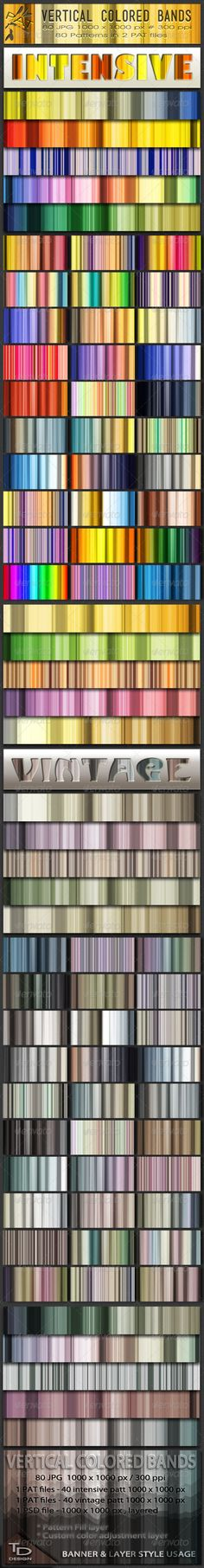 Vertical Colored Bands Patterns Set  #GraphicRiver         The Vertical Colored Bands Set contains 80 Stripes Patterns in 2 Styles – intensive and vintage colors. The Intensive color patterns have combinations of 4-5 fresh colors. Vintage look patterns are made in low saturation colors. You can use these patterns in banners and layer style.    - 40 JPG images Intensive colored bands 1000 x 1000 pixels with resolution 300 ppi - 40 JPG images Vintage colored bands 1000 x 1000 pixels with…