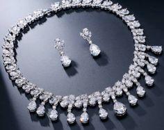CZ Necklace Set, Cubic Zirconia Necklace Set, Wedding Jewelry, Bridal Necklace Set, Wedding Necklace Set, Crystal Necklace Set,