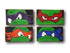 **ALL ORDERS PLACED BY 12/8/17 WILL BE SHIPPED FOR RECEIPT BY 12/23. ORDERS PLACED AFTER 12/8/17 WILL BE SUBJECT TO LISTED TURNAROUND TIMES** Hand painted on reclaimed wood. This listing is for the set of four paintings which include one each of Michelangelo, Leonardo, Donatello, and