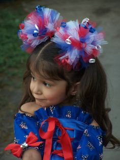 Patriotic Red White Blue Patriotic Tutu Hair Puff Bows 2 Fire Crackers 4th Of July hair bows. $12.99, via Etsy.