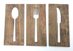 Fork Spoon Knife Kitchen Wall Decor, Art On Wood, Contemporary Kitchen