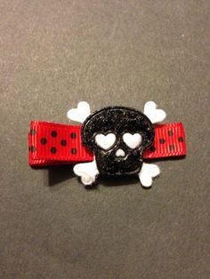 Black skull one dollar hair Clippie non slip by mycutesies on Etsy, $1.00