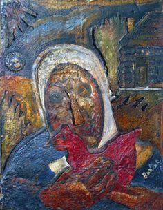 Woman with a chicken by David Burliuk