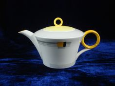 Shelley china Art deco small teapot yellow blocks and bands regent shape w12128