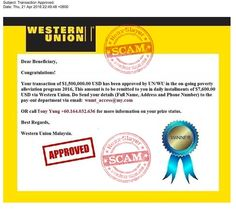 Western Union 'Poverty Alleviation Program' Advance Fee Scam