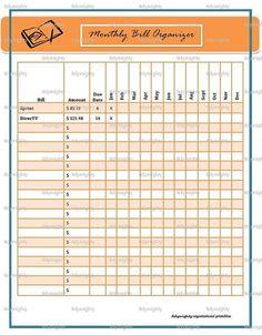 monthly bill organizer excel