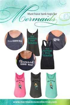 Comfy mermaid tank tops from Mermaid Cove Collective! Mermaid Tank Top, Mermaid Cove, Mermaid Shirt, Mermaid Diy, Mermaid Tattoos, Mermaid Style, Mermaid Nails, Mermaid Makeup, Mermaid Purse