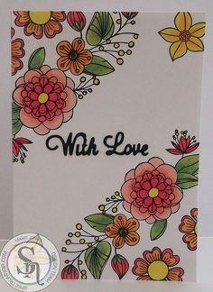 10 x 14cm Card made with Spectrum Noir Colorista Elements 1 stamp, Card Blank & Colorista Pencils. Designed by Marie Jones. #crafterscompanion #spectrumnoircolorista