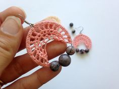 Lace Doily Earrings with Rhodochrosite Natural Stone Beads, Peach Crochet Hoops, Dangle Knit Hoops in Pink, Gray and Black, Coral Rose Hoops  These are very playful and girly crochet earrings. They are made of lovely peach color thread and natural stone round beads. The beads are made of beautiful and color changing rhodochrosite- you can see shades of pink, gray and black in this explosion of colors. These pink lace crochet hoops are so delicate and elegant. You will feel very cute when…