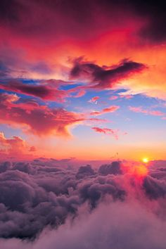 Sunsets above the clouds