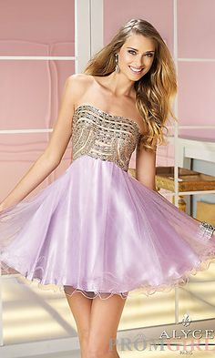 Short Strapless Beaded Prom Dress by Alyce Paris 3586 at PromGirl.com