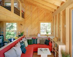 Interior of 550 square foot mini house on a Maine island. Beautiful!