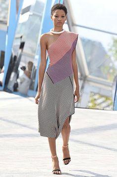 london-fashion-week-ready-to-wear-spring-summer-2016-best-looks-striped-one-shoulder-dress-midi - Shilpa Ahuja
