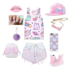Kawaii As A Kitten by torikrause on Polyvore featuring Pusheen, Levi's, Dr. Martens, Casetify and Dorothy Perkins