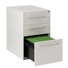 BA52GBBH - Flat front & applied handle, 2 stationery, 1 filing drawer with 'cap 1' levellers – Bisley Office Furniture - Europes leading steel storage manufacturer