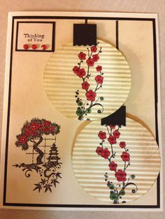 handmade card ... Asian theme ... two lanterns ... cherry blossom stamped .... die cut and then run through the crrimper ... luv how she did the shading .... great card!
