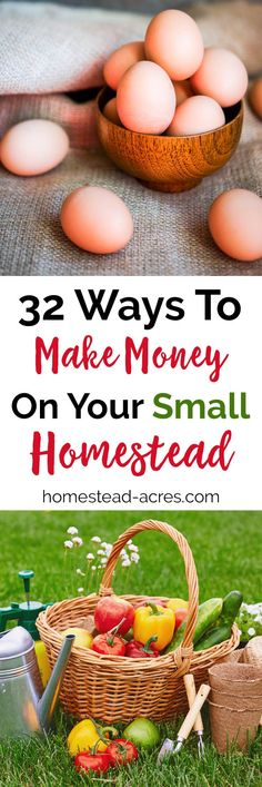 32 real ways you can make money homesteading. A great source to brainstorm ideas for working at home on your small farm. #homestead #homesteading #makingmoney via @homesteadacres