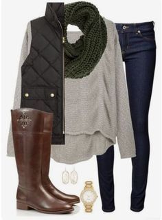 Take a look at 30 casual fall outfits for moms in the photos below and get ideas for your own all day outfits! Adorable look for work! Love the necklace/scarf combo look (but not a big fan of leopard). Mode Outfits, Casual Outfits, Fashion Outfits, Womens Fashion, Fasion, Comfortable Outfits, School Outfits, Dress Outfits, Fall Winter Outfits
