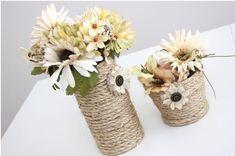 Copo de Vidro Decorado Com Sisal se transforma em lindas peças de decoração que podem ser usadas como vasos, porta trecos, etc.