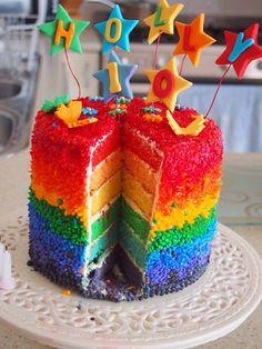 Inside of rainbow cake