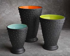 Colour scheme inspiration Dangerously Spiky Trio of Vases Chartreuse Blue and Orange Inside by Symmetrical Pottery