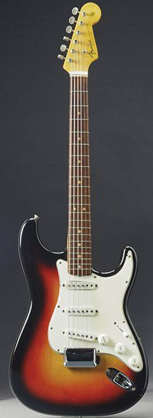 Bob Dylan Sunburst Fender Stratocaster that symbolised musician's move from folk to rock sold at Christie's auction for $965,000 (£590,432).