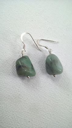 Emerald Earrings, Genuine Large Nugget Earrings, Emerald, Large Emerald Earrings, Natural Emerald Drop Earrings, 925 Silver Emerald Earrings