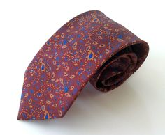 Channiti Neck Tie Red Blue Yellow Paisley Print 100% Thai Silk #Channiti #NeckTie