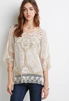 Mesh-Paneled Open-Crochet Top   Forever 21 - 2002247450