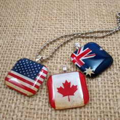 Vintage Flag of Nations Glass Tile Pendant BUY 3 Get ONE FREE