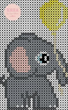 Små fødselsdags elefanter – Anja Takacs Cross Stitch Hoop, Cute Cross Stitch, Modern Cross Stitch, Hama Beads Patterns, Weaving Patterns, Perler Bead Art, Perler Beads, Lego Ninjago, Melted Bead Crafts