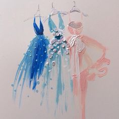 Ephemeral 3d fashion illustration suggestion volume with watercolour and needlework
