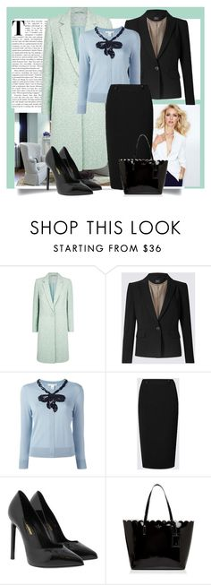 """""""Pastel and Black"""" by danewhite ❤ liked on Polyvore featuring Benjamin Moore, Fenn Wright Manson, Marc Jacobs, Yves Saint Laurent and Kate Spade"""