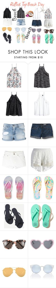 """""""Ruffle Top twinzzies x2"""" by amandavipul on Polyvore featuring Armani Jeans, Aéropostale, Yves Saint Laurent, Chicwish, Lilly Pulitzer, WithChic, Hollister Co., Gentle Monster, Vans and Linda Farrow"""