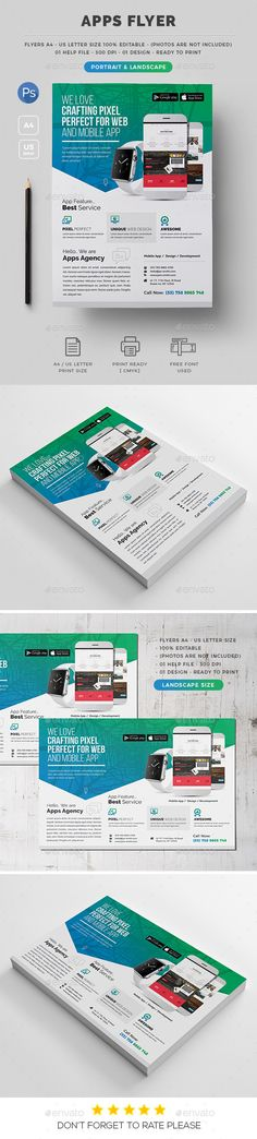 Apps Flyer — Photoshop PSD #white #both side design • Available here → https://graphicriver.net/item/apps-flyer/19628153?ref=pxcr
