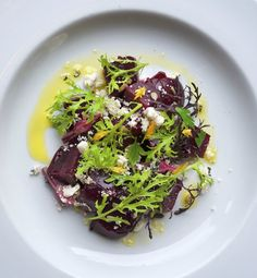 Roasted beets  ricotta salata at Clyde Common in #Portland | www.chefsfeed.com