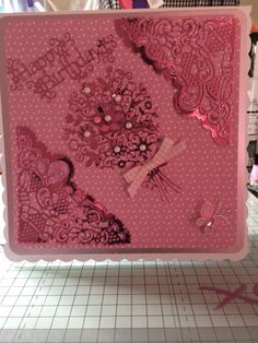 Birthday card using blooming bouquet tattered lace die