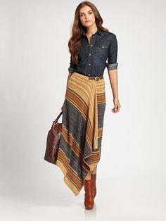 Ralph Lauren Blue Label - Western Denim Shirt and Striped linen/Silk Wrap Skirt- Saks.com