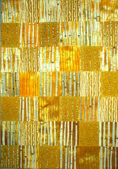 Stripes!    Brenda Smith quilt. This looks like rectangles of sunlit  trees. They may be printed that way, but if they aren't strip  piecing, they could be.
