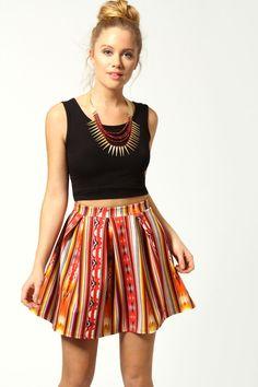 Ashleigh Navajo Print Box Pleat Skater Skirt