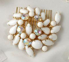 Sash Brooch OR Hair Comb, 1950s 1960s White Milk Glass & Rhinestone Gold Bridal Pin or OOAK Headpiece, Vintage Modern Wedding Accessory by AmoreTreasure