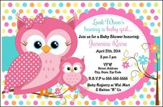 8 OWL BABY SHOWER INVITATIONS PARTY FAVORS BIRTHDAY #BabyShower